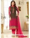 Energetic Brasso Georgette Hot Pink And Brown Churidar Salwar Suit