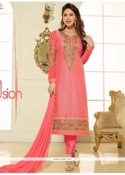 Cute Lace Work Brasso Georgette Churidar Salwar Kameez