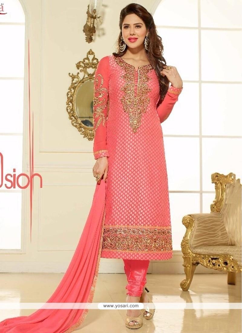 Cute Lace Work Brasso Georgette Churidar Salwar Kameez