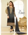 Pleasing Embroidered Work Black And Grey Churidar Designer Suit