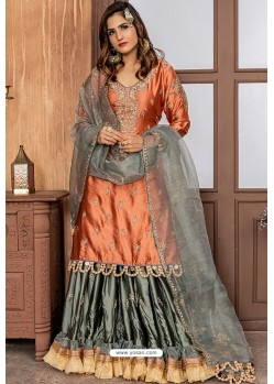 Rust Heavy Designer Party Wear Sharara Suit