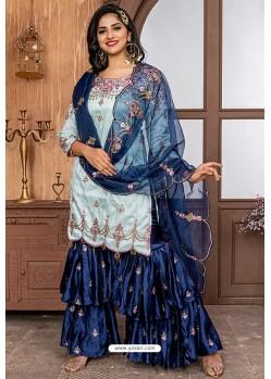 Sky Blue Heavy Designer Party Wear Sharara Suit