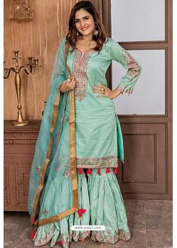 Aqua Mint Heavy Designer Party Wear Sharara Suit