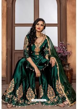 Dark Green Heavy Designer Party Wear Sharara Suit