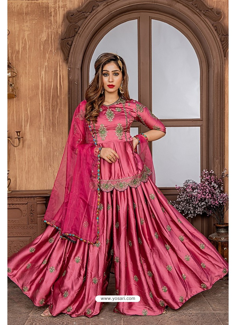 Rose Red Heavy Designer Party Wear Sharara Suit