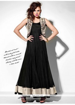 Opulent Embroidered Work Black Georgette Anarkali Suit