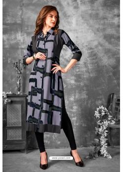 Grey Partywear Designer Printed Fancy Kurti