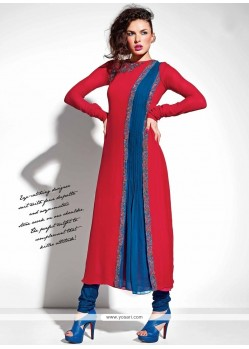 Voluptuous Georgette Red Embroidered Work Anarkali Suit