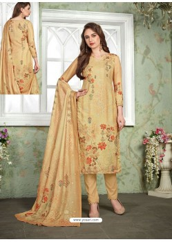 Cream Designer Printed Heavy Muslin Straight Salwar Suit