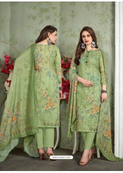 Green Designer Printed Heavy Muslin Straight Salwar Suit