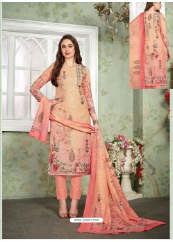 Peach Designer Printed Heavy Muslin Straight Salwar Suit