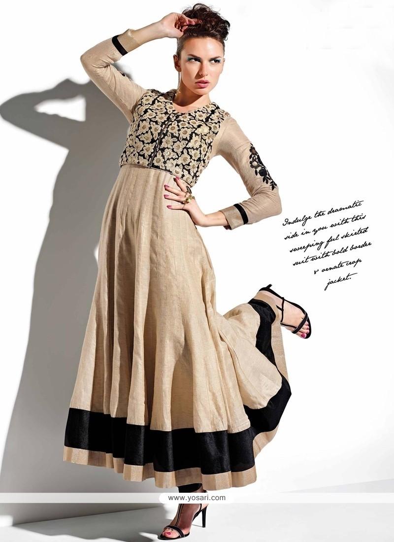 Fashionable Beige Resham Work Anarkali Salwar Kameez