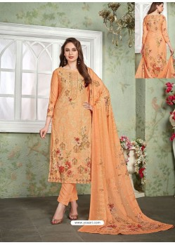 Orange Designer Printed Heavy Muslin Straight Salwar Suit