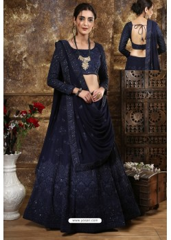 Navy Blue Designer Festival Wear Lehenga Choli