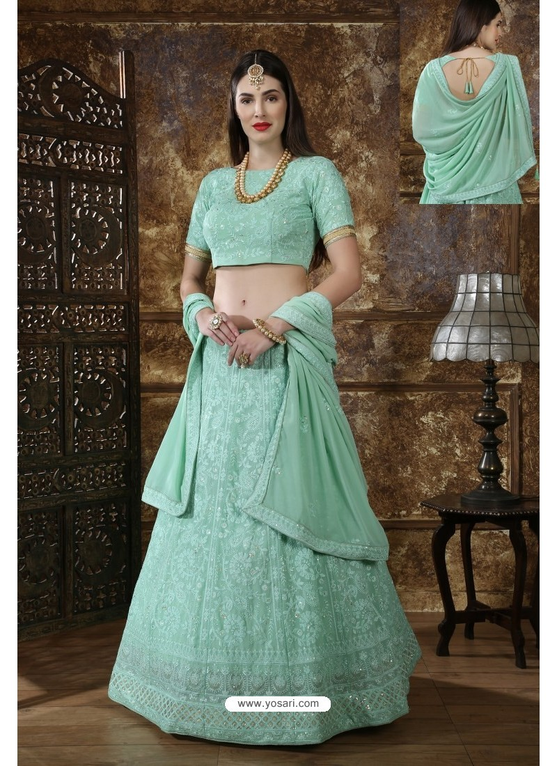 Sea Green Designer Festival Wear Lehenga Choli