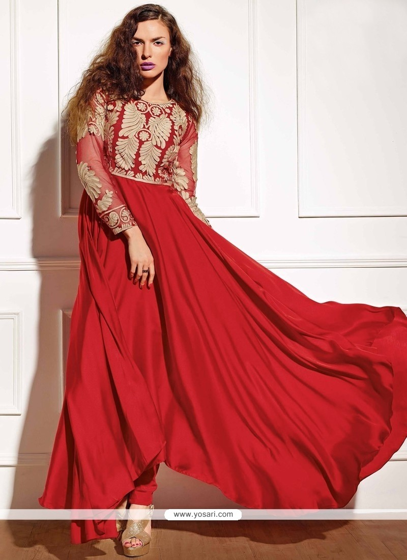 Delightful Red Zari Work Georgette Anarkali Suit
