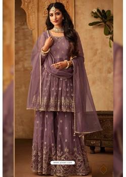 Lavender Heavy Designer Party Wear Sharara Suit