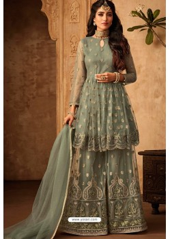 Olive Green Heavy Designer Party Wear Sharara Suit