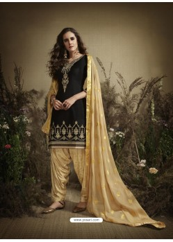 Black Designer Embroidered Punjabi Patiala Suit