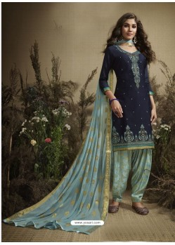 Navy Blue Designer Embroidered Punjabi Patiala Suit