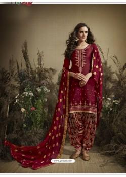 Maroon Designer Embroidered Punjabi Patiala Suit