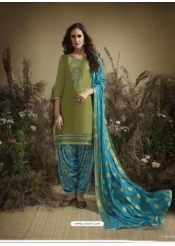 Green Designer Embroidered Punjabi Patiala Suit