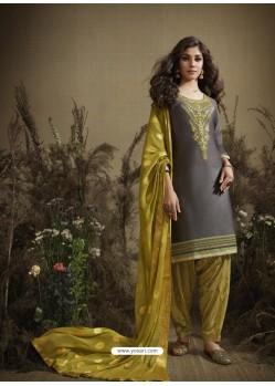 Dull Grey Designer Embroidered Punjabi Patiala Suit