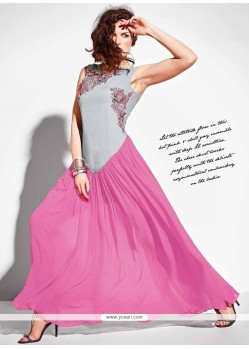 Customary Pink Anarkali Salwar Kameez
