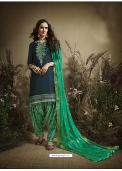 Dark Blue Designer Embroidered Punjabi Patiala Suit