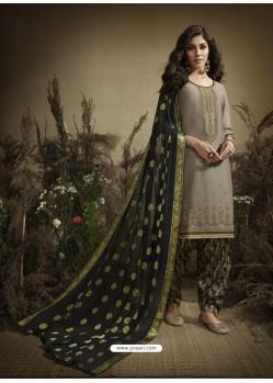 Light Grey Designer Embroidered Punjabi Patiala Suit
