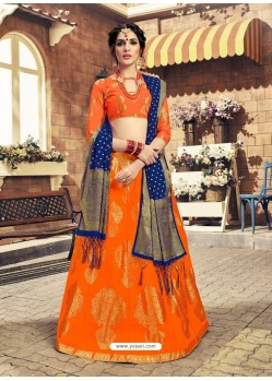 Orange Designer Fancy Wear Banarasi Silk Lehenga Choli