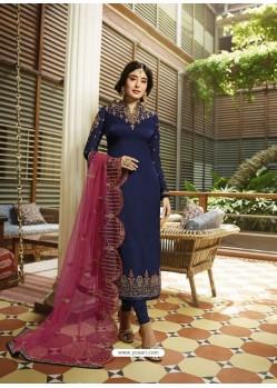 Navy Blue Designer Heavy Satin Georgette Salwar Suit
