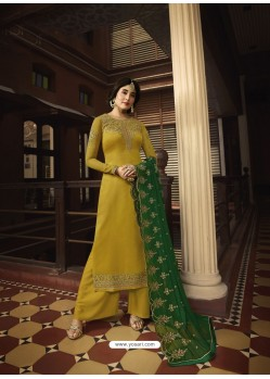 Yellow Designer Heavy Satin Georgette Salwar Suit