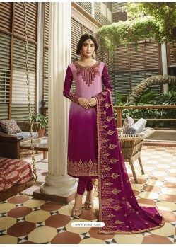 Medium Violet Designer Heavy Satin Georgette Salwar Suit