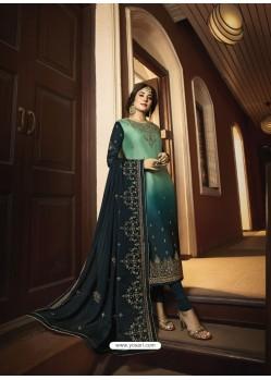 Dark Green Designer Heavy Satin Georgette Salwar Suit