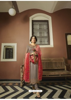 Light Brown Designer Heavy Satin Georgette Salwar Suit
