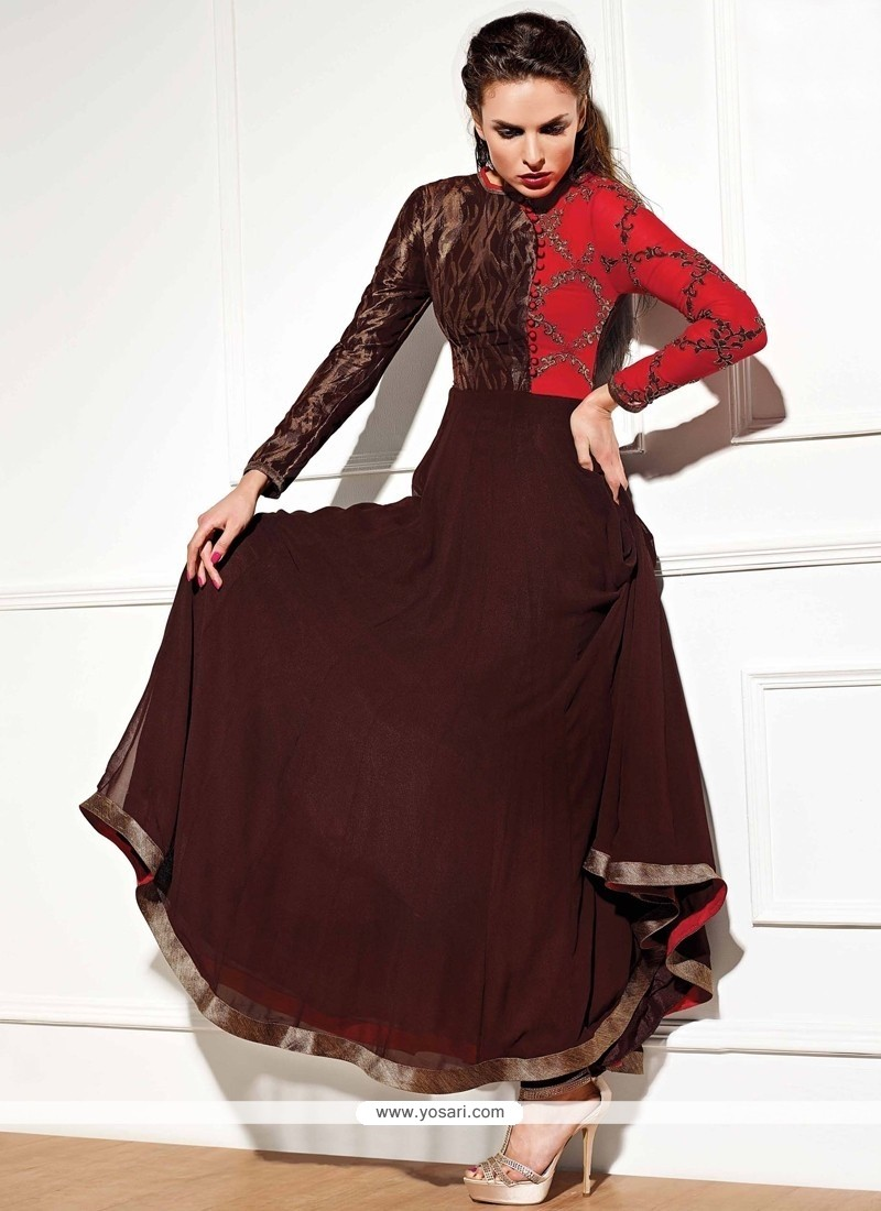 Bewitching Brown Anarkali Salwar Suit