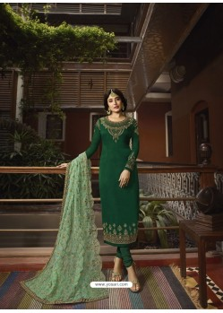 Dark Green Designer Heavy Satin Georgette Salwar Suit