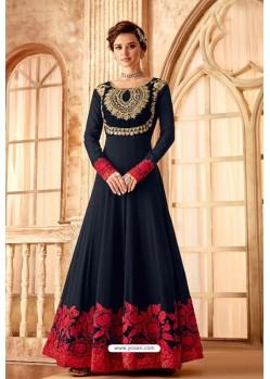 Navy Blue Latest Embroidered Designer Anarkali Suit