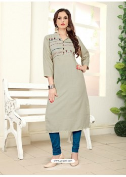 Light Grey Readymade Designer Casual Wear Kurti
