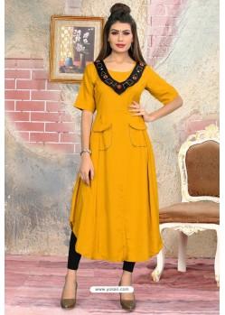 Yellow Readymade Designer Casual Wear Kurti