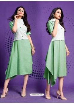 Sea Green Readymade Designer Casual Wear Kurti
