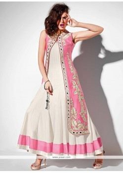 Magnificent Raw Silk Embroidered Work Anarkali Salwar Kameez
