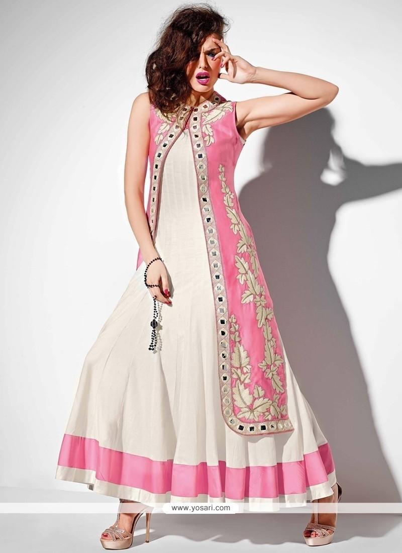 Magnificent Raw Silk Embroidered Work Anarkali Salwar Kameez