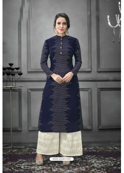 Navy Blue Designer Party Wear Munga Silk Palazzo Suit