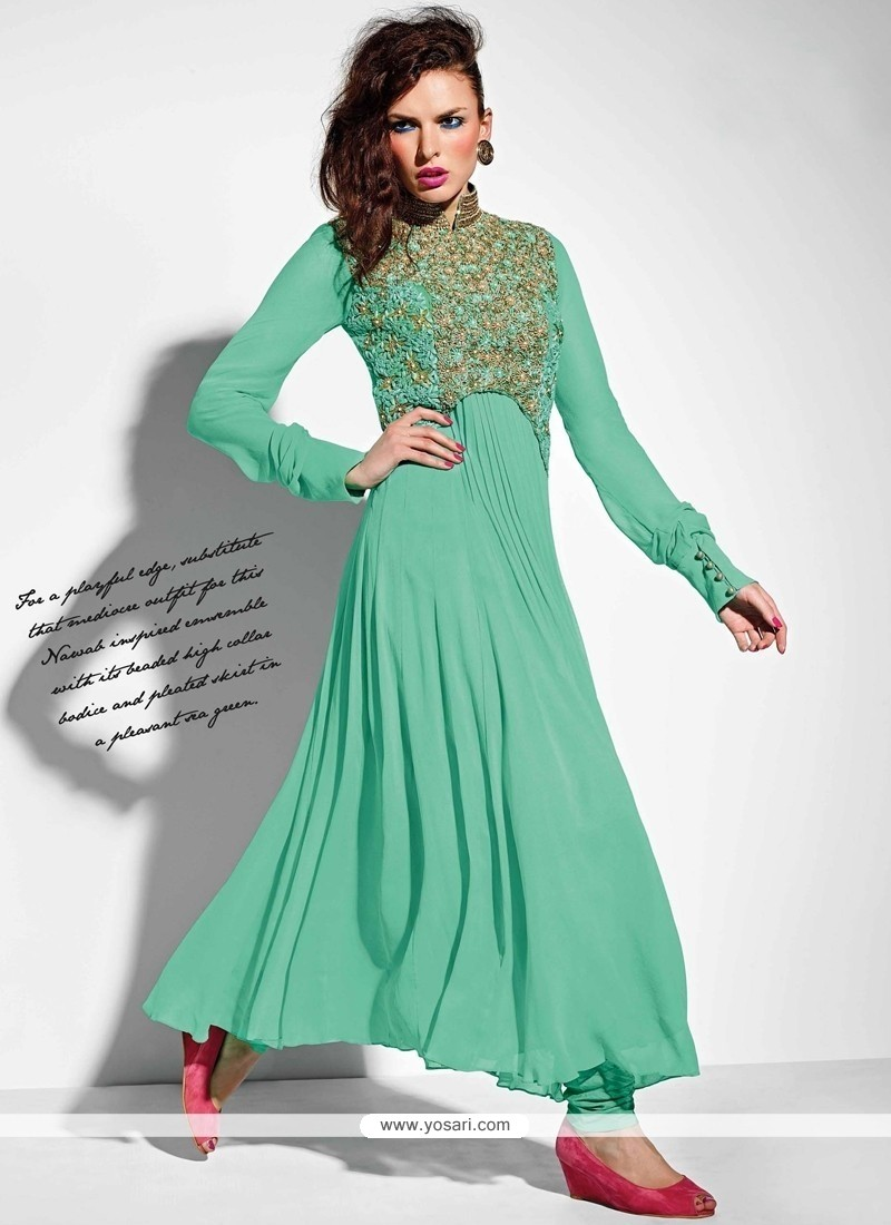 Luxurious Sea Green Resham Work Georgette Anarkali Salwar Suit
