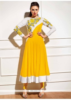 Tiptop Yellow Embroidered Work Anarkali Suit