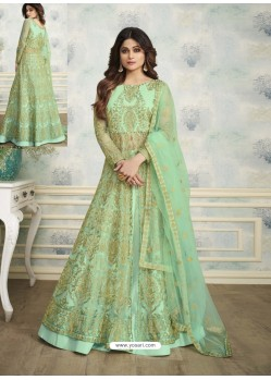Sea Green Designer Heavy Butterfly Net Indo Western Anarkali Suit
