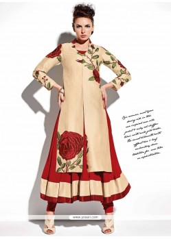 Radiant Red And Beige Georgette Anarkali Salwar Suit