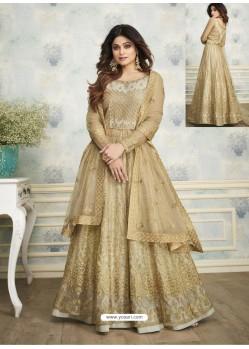 Gold Designer Heavy Butterfly Net Indo Western Anarkali Suit
